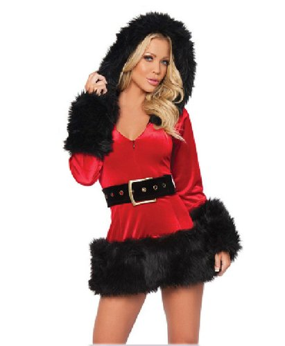 Black Temptation Women's Long-sleeved Mrs Santa Christmas Costume Black(194)