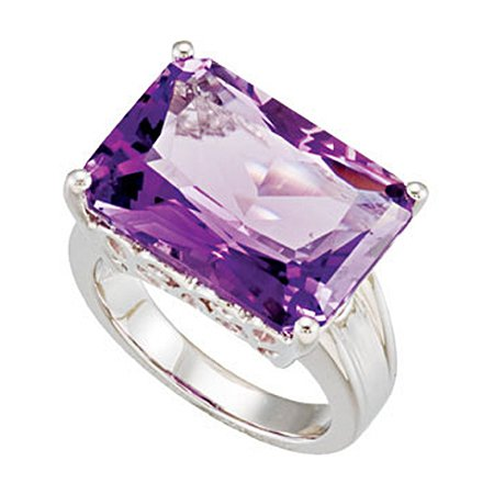 Sterling Silver Amethyst Ring - Solitaire Cocktail