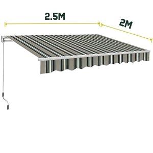 Greenbay 2.5 x 2m Manual Awning Garden Patio Canopy Sun Shade Shelter Retractable Multi-Stripe New