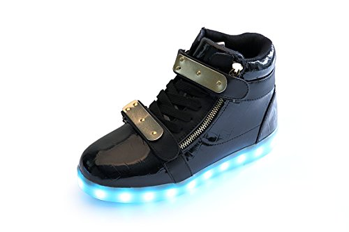 KicksKid Unisex Orion Men Women Kids LED Light Up Shoes Slip-On Loafers Kicks Fashion sneakers Black 41