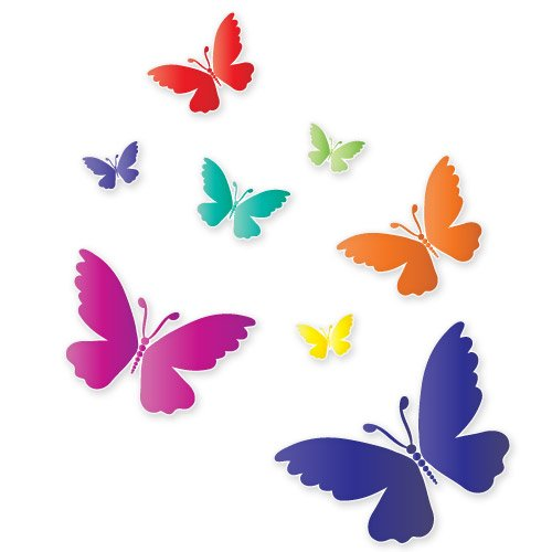 Colorful Butterflies Beautiful Se of 8 Vinyl Stickers - Car Phone Helmet - SELECT SIZE (Ski Company Stickers compare prices)