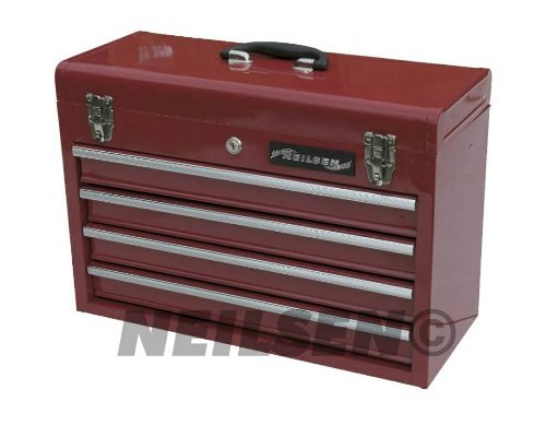 LARGE 4 DRAWER STEEL TOOL CHEST TOOL BOX KEY LOCK