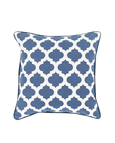 Surya Moroccan Printed Lattice Pillow  [Navy]