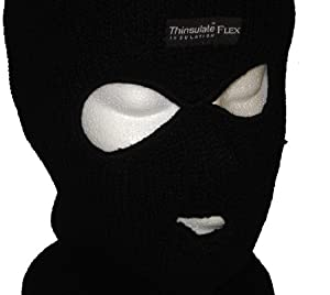 BLACK KNITTED LINED THINSULATE THERMAL BALACLAVA