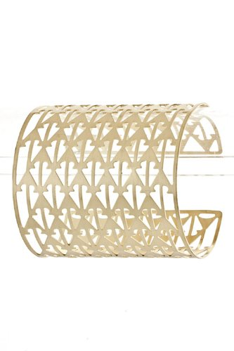 Trendy Fashion Jewelry Pattern Cut Out Cuff By Fashion Destination | (Matted Gold)