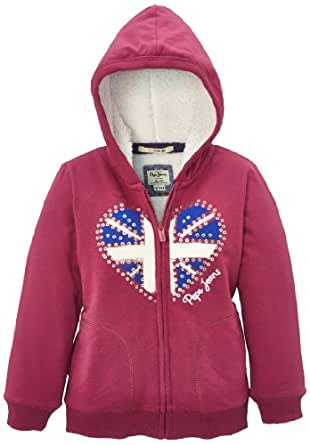 Pepe Jeans Cata - Sweat-shirt à capuche - Fille, Rouge (Light Berry 400), FR: 24 mois (Taille fabricant: 2 ans)