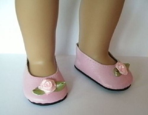 Pink Rose Slip On Shoes for 18 inch American Girl Dolls - 1