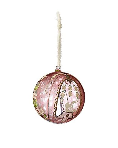Sage & Co. Pink Hand-Painted Glass Ball Ornament