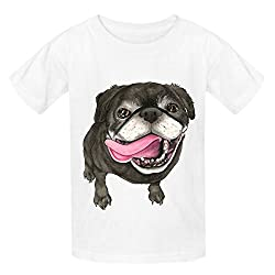 Black Pug Dog Teen Crew Neck Graphic T-shirt