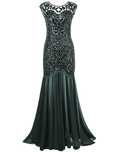 PrettyGuide Women 's 1920s Sequin Gatsby Plus Size Formal Evening Prom Dress XXL Green
