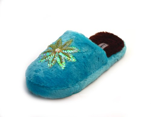 Cheap Luckers Womens Sequin Flower Slippers, Blue (B008MP9VGY)