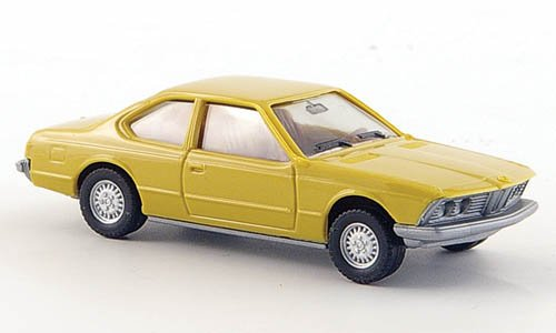 BMW-633-CSi-senffarben-Modellauto-Fertigmodell-Herpa-187