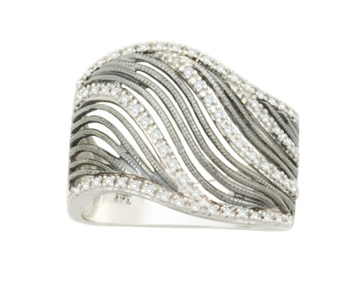 Sterling Silver Wave Diamond Ring (1/5 cttw, I-J Color, I2-I3 Clarity), Size 7
