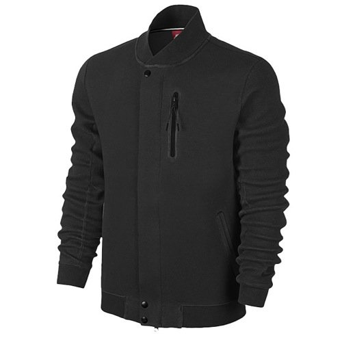 Men's Nike Tech Varsity 3MM Jacket Black Heather/Black 614379-032 Size XL