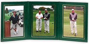 PRESIDENTIAL Triple 5x7 Green leatherette stock photo frame w/gold foil border sold in 2's - 5x7