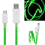 Wayzon Quality Green LED Visible Sparkling Flat High Speed Sync Micro USB Data Cable Lead Charger Suitable For Samsung Focus S I937 / Galaxy 551 / A / Ace 2 I8160 / Duos I589 / S6802 / Plus S7500
