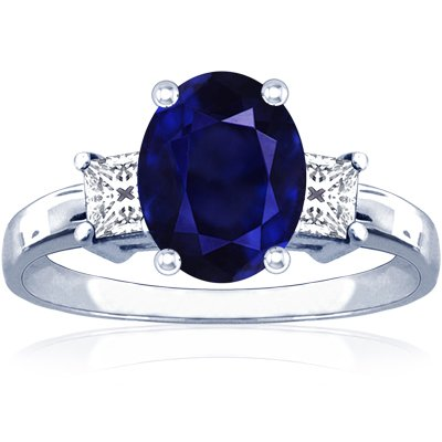 14K White Gold Oval Cut Blue Sapphire Three Stone Ring