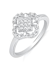Mahi Rhodium Plated Evergreen Delight Finger Ring With CZ For Women FR1100491R