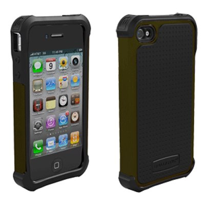 Ballistic Shell Gel (SG) Series Case for iPhone 4/4S - Olive Green/Black