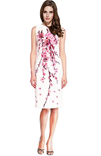 Lily Mode Women's White Plum Blossom Floral Print Sleeveless Petite Sheath Dress