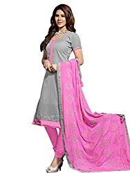 STYLE N DEAL Women's Jute Silk Unstitchced Dress Material (316D10010_Grey_Free Size )