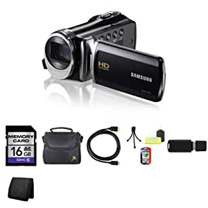Samsung HMX-F90 HD Camcorder (Black) + 16GB SDHC Class 10 Memory Card + Carrying Case + Mini HDMI to HDMI Cable + Mini Tripod Kit + USB SDHC Reader + Memory Wallet