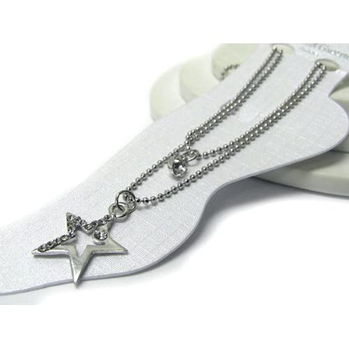 White Gold Plated Anklet ~ Clear Crystal Studded Star