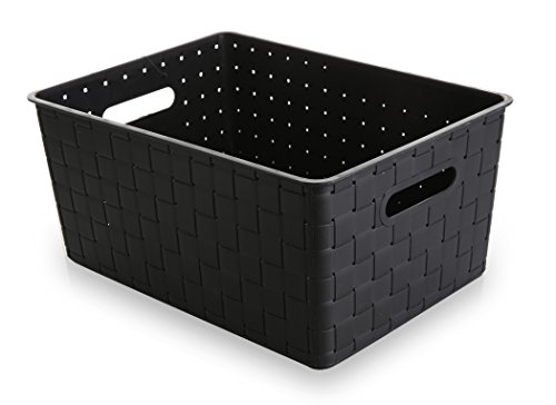 BINO Woven Plastic Storage Basket, Black, Large (Newspaper Storage Container compare prices)