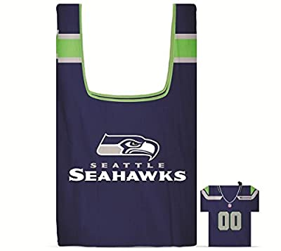 NFL Seattle SeaHawks Eco Friendly Reusable Grocery Bags with Jersey Style Storage Pouch