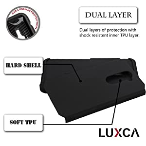 ZTE ZMAX PRO Case, LUXCA® Designed Armor [Shock Absorption] Drop Protection Hybrid Dual Layer Defender Cover for ZTE ZMAX PRO (Jet Black) from LUXCA