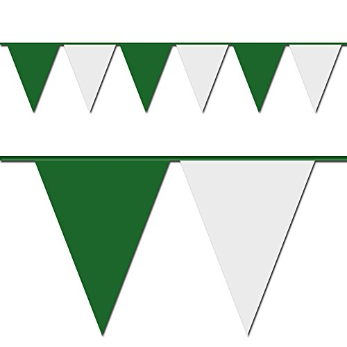 100' Green & White Pennant Flag (Heavy Duty Flag Streamers compare prices)