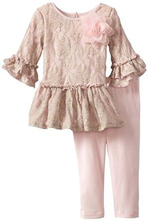 Pippa & Julie Baby Girls' Ruffle Set, Pink, 18 Months