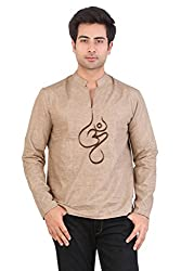 Veda Men Aum Embroidered Short Kurta - Beige