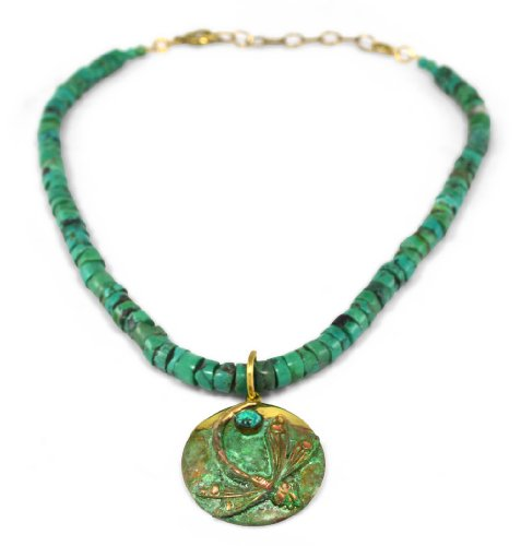 Patina Brass Dragonfly Necklace - Turquoise