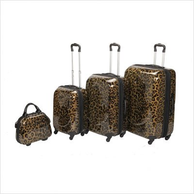 Shiny Metallic 4 Piece Luggage Set in Gold Leopard