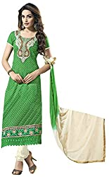 AAINA Women's Cotton Silk Unstitched Dress Material (Green)