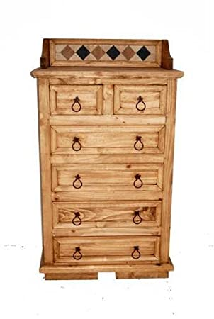 Marble Chest of Drawers, Western, Rustic, Real Wood, Tall Dresser
