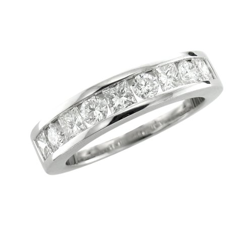 14k White Gold Round & Princess Anniversary Wedding Diamond Ring Band Size 7 (GH, SI-I, 1.20 carat)