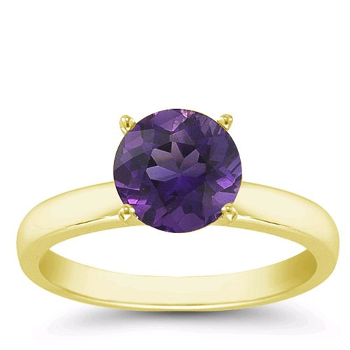 2.00 Carats 8mm Amethyst Gemstone Solitaire Ring