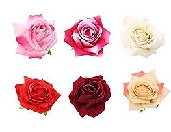 Sanjog Vintage Rose Hair Flower Clip and Pin Brooch Pin-Pack of 6