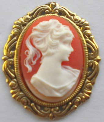 Cameo Pin-Lady Cameo,Carnelian in Gold Finish