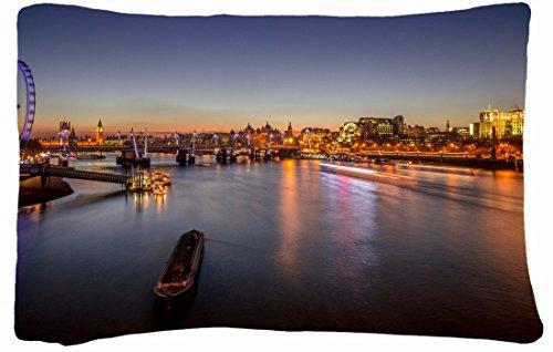 Microfiber Peach Queen Size Decorative Pillowcase -City City Evening Night Lights River Ferris Wheel London front-808056