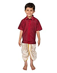 Thangamagan Boy's Shirt/Dhoty Regular Fit (Red,Age : 10 to 11 Years)