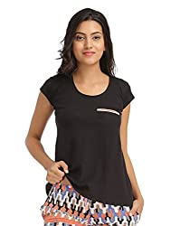 Clovia Cotton Round Neck T-Shirt With Contrast Piping - Black