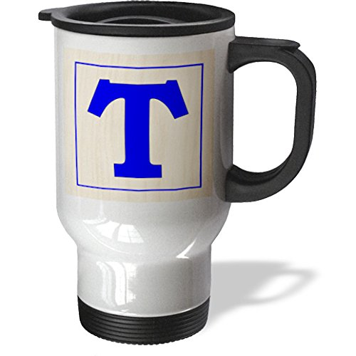 Florene - Childrens Wooden Block Letters - Print Of Large Retro Blue T On Wood Block - Travel Mug - 14Oz Stainless Steel Travel Mug - Tm_194593_1 front-391878