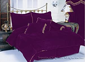 7PC PURPLE VELVET COMFORTER BED IN A BAG QUEEN