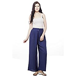 Pistaa Womens Rayon Solid Navy Blue Ethnic Plazzo Pant Bottom