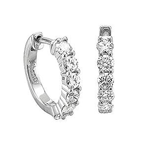 14k White Gold 6 Stone Hoop Diamond Earrings (GH, I1-I2, 0.74 carat)