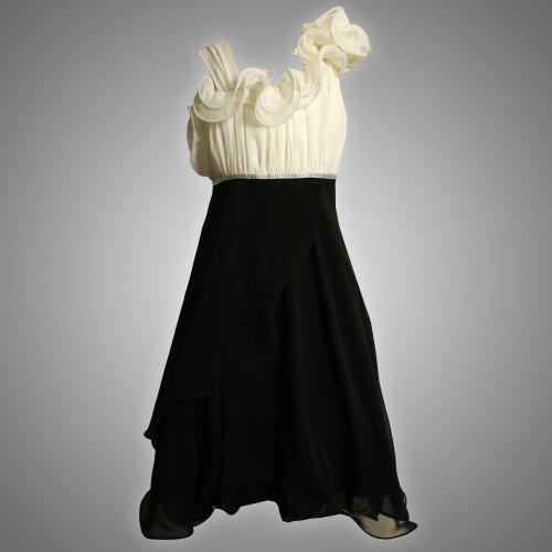 Size-10 BNJ-1327-B IVORY BLACK ASYMMETRIC RUFFLE SHOULDER CASCADE CHIFFON Special Occasion Wedding Flower Girl Party Dress,B41327 Bonnie Jean 7-16