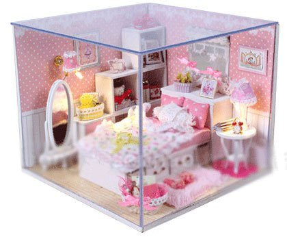 Big Dollhouse Miniature Diy Wood Frame Kit With Light Model Sweet Promise Gift Ldollhouse43-D61